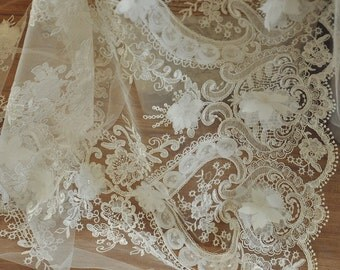Ivory Wedding Dress Lace Fabric for HAUTE COUTURE , Ivory 3D Flower Embroidery Lace Fabric - Lolita
