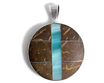 Tree Bark Pendant Mother of Pearl 925 Silver