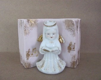 Vintage Angel Planter, 1960's Ceramic Angel Planter, Figurine, Pink Planter, Mid Century Decor