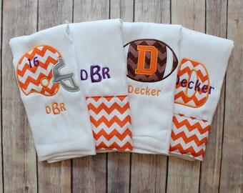 Baby Boy Monogrammed Burp Cloth Set, Football Burp Cloth Set, College Football Burp Cloth, Personalized Burp Cloth Set, Baby Shower Gift