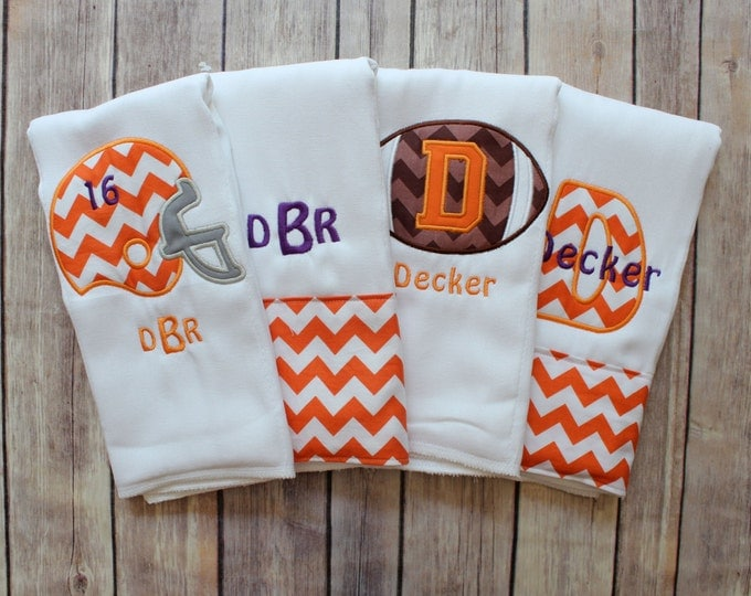Baby Boy Monogrammed Burp Cloth Set, Football Burp Cloth Set, College Football Burp Cloth, Personalized Burp Cloth Set, Baby Shower Gift