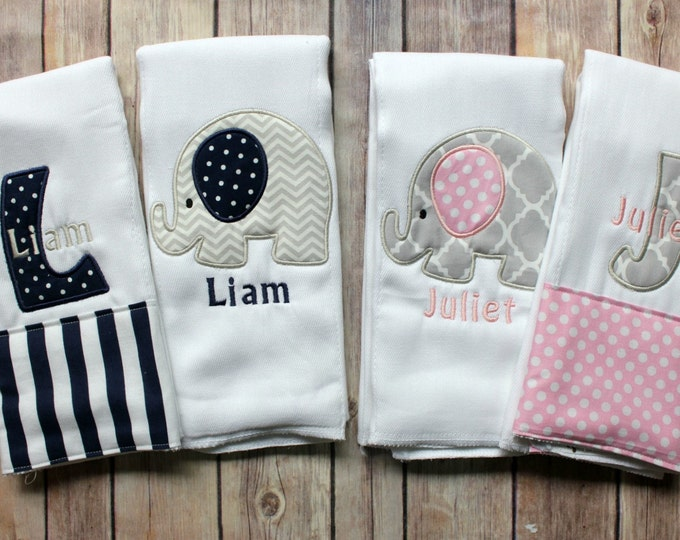 Monogrammed Twin Baby Gift, Twin Baby Shower Gift, Personalized Twin Gift, Twin Baby Burp Cloth, Twin Burp Cloth Set, Personalized Boy Girl
