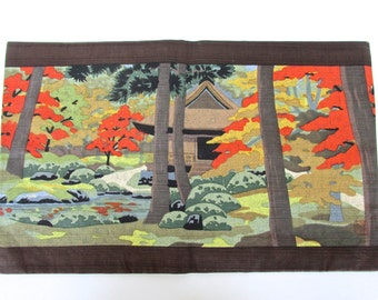 Vintage Japanese Table Mat, Decorative Fabric Placemat, Small Table Runner, Japanese Fine Table Linens