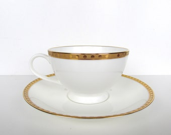 Vintage Tiffany And Co Gold Band Cup And Saucer
