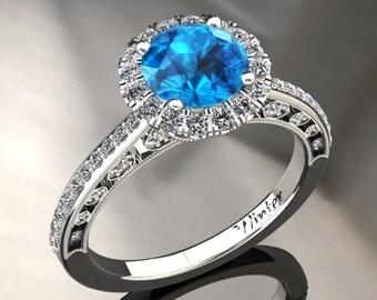 Blue Topaz Halo Engagement Ring Blue Topaz Ring 14k or 18k White Gold W5BU2W