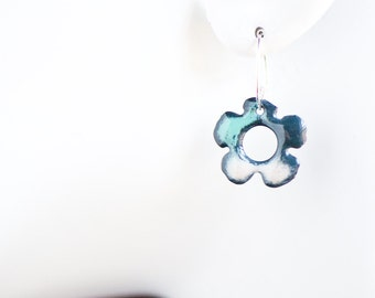 3/4 inch Boho Flower Earrings, Enamel Earrings, Zen Garden, Handmade Enamel Jewelry, Torch Fired, Dangle Earring, Bloom Jewelry, Hippie Boho