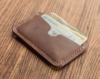Front Pocket Card Wallet - Hand-Stitched Natural Brown Cowhide