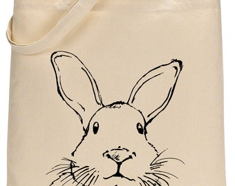 Rabbit Face cotton tote bag - Book bag, Shopping bag Reusable and Washable - Eco Friendly