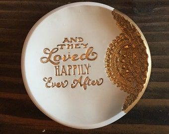 Happily Ever After Gold Lace Jewelry Dish - ring holder, ring dish, jewelry bowl, jewelry, wedding