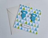 I was planned I'm a bonus twin boy onesie gift card. baby shower card. baby gift set. baby gift basket. geometrical shape pattern. heart