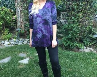 Plus size tunic, tunic top,  plus size, Womans Tunic, Tie Dye Tunic, Gather Back Top, Hi Low, Plus Tunic,  Purple & Black, XS S 2X 3X