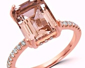 Final PAYMENT 3 1/3 ct Emerald Cut Morganite Engagement Ring Diamond 14k Rose Gold Wedding Bridal Ring 10x8mm