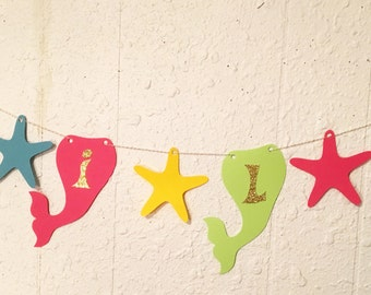 Mermaid tail banner, Mermaid party, Under the sea party