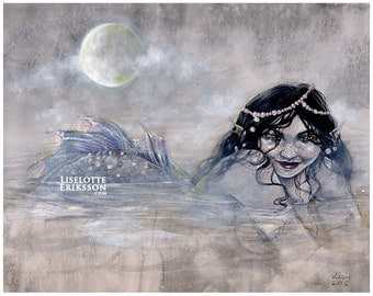 Mist, Mermaid, Moon - large art print (shipping included)