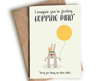 Hopping Mad  / Sorry Card / Idiot Card / Bunny Rabbit Card