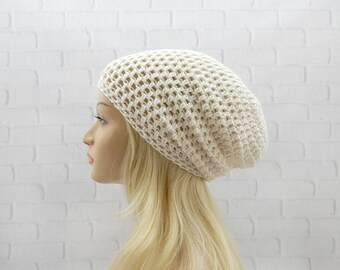 Ivory Crochet Hat, Slouchy Hat, Vegan Friendly, Slouchy Beanie, Oversized Hat, Womens Hat, Crochet Beanie, Winter Hat, Crochet Slouchy Hat