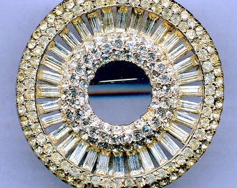 Gorgeous Crystal Rhinestone Brooch with Rhodium-Plating/was 34