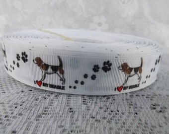 7/8 inch Beagle Dog grosgrain ribbon by the yard Beagle ribbon