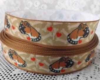 Boxer Dog ribbon Boxer ribbon 7/8 Boxer Grosgrain ribbon bulldog ribbon