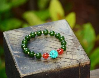 Malaysia Bracelet,Turquoise Bracelet,Carnelian Bracelet,Sterling Silver Bracelet,NO.87