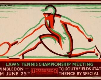 Art Print Wimbledon Tennis Womens 1927  London Underground Railway Poster Print 8 x 10