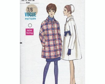 60s Vogue coat sewing patterns 7514, Bust 36 inches, Waist 27 inches, vintage vogue sewing pattern