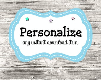 Personalize Any Instant Download Item