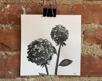 "Original 6"" x 6"" Ink Flower Painting"