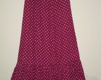 Bright pink polka dot handmade maxi skirt