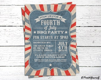 4th of July Invite // Personalized Printable Vintage 4th of July BBQ Invitation // Fourth of july Invite // Independence day Invite