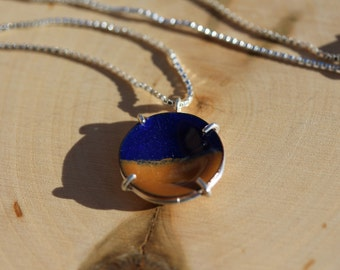 Enameled Copper Disk With Sterling Silver Setting Necklace