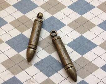 10 PCS antique bronze bullet charm Pendant 7mmx45mm