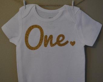 Baby bodysuit, birthday, one, happy birthday, heart, handmade bodysuit, Baby girl clothes, Baby shower gift