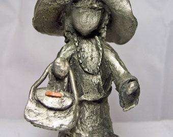 Little Girl Child Playing DRESSUP, Detachable Handbag Purse PEWTER Figurine
