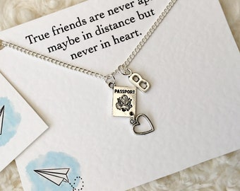 Friendship Necklace Set Of 2, Long Distance Friendship Gift, @ Necklaces, Best Friend Necklace, Friendship Gift, Silver Charm Necklace!