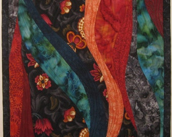 Art Wall Quilt Old English Garden, Wall Hanging, Fiber Arts, Quilts, small quilt