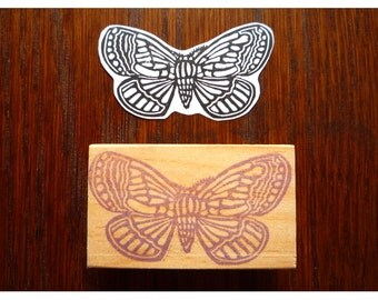 Rubber stamp butterfly art nouveau