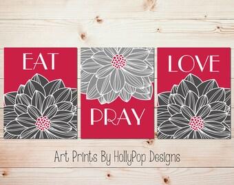 Kitchen Wall Prints Modern Floral Decor Eat Pray Love Art Inspirational Christian Dahlia Flower