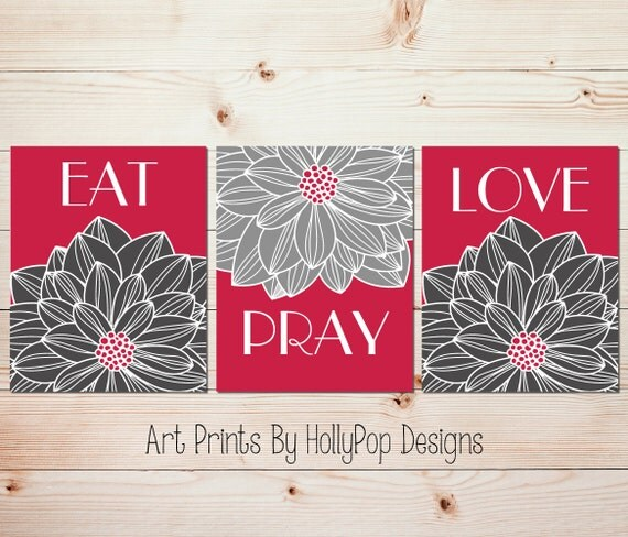Modern Kitchen Wall Decor Eat Pray Love Trio By: Kitchen Wall Prints Modern Floral Decor Eat Pray Love Art