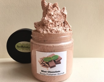 CHOCOLATE MINT- Exfoliate with Dead Sea Salt-Spa Uptown -Creamy Body Scrub- 8 fl oz
