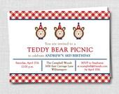 Classic Red Gingham Teddy Bear Picnic Invitation - Teddy Bear Party - Boy Birthday - Digital Design or Printed Invitations - FREE SHIPPING