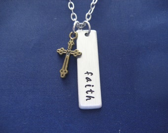 Faith Necklace - Mixed Metal - Hand Stamped Faith Necklace - Cross Necklace - Bar Necklace