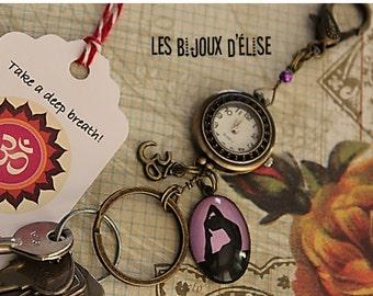 Sale - Yoga Watch Keychain  Purse Dangle Om Handbag Bling