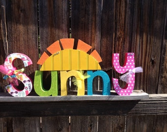 SALE Summer wood letters-sunny sun