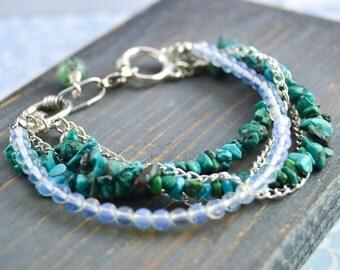 Bracelet fine stone - Meditation - Yoga - gems - turquoise - gray agates