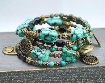Turquoise Bracelet - Bead Bracelet - enamels briare vintage - stone bracelet - Bracelet charms - wrist strap several towers