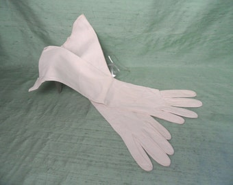 "Long white leather gloves / vintage , 14.5"" / As Is"