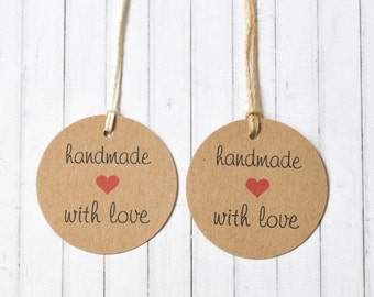 10% Off Sale Handmade With Love Gift Tag, Kraft Gift Tag, Product Tag, 2 inch round tag, Circle Tag, Pack of 10, 20, 50, 100 Customisation a