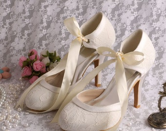 Custom handmade ivory white satin bow tie front mid heel bridal wedding lace ankle mary jane dorsay court