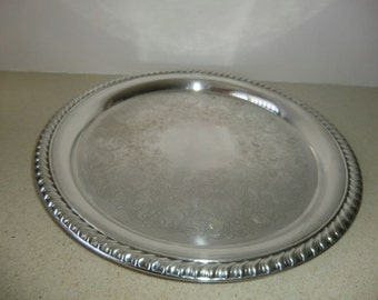 Vintage Wm. Rogers Silver Plate Serving Tray/Platter, 10 1/4''